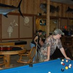 hunting lodge game room at Riverview Ranch